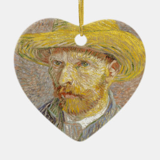 Vincent Van Gogh Self Portrait with Straw Hat Art Ceramic Heart Decoration