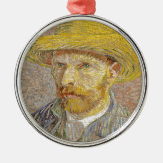 Vincent Van Gogh Self Portrait with Straw Hat Art Silver-Colored Round Decoration