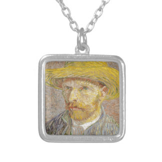 Vincent Van Gogh Self Portrait with Straw Hat Art Silver Plated Necklace