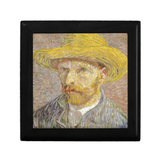 Vincent Van Gogh Self Portrait with Straw Hat Art Small Square Gift Box