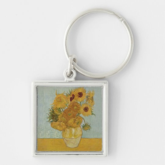 Vincent van Gogh Silver-Colored Square Key Ring