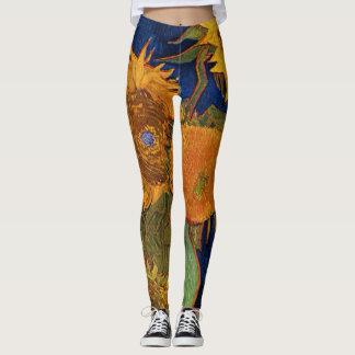 Vincent van Gogh Six Sunflowers GalleryHD Fine Art Leggings