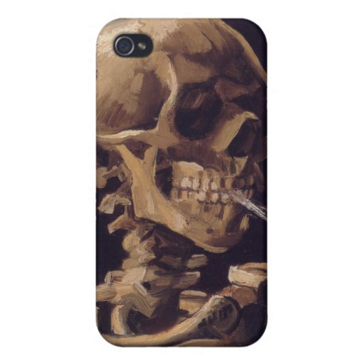 Vincent Van Gogh Skull with a Burning Cigarette iPhone 4 Cases