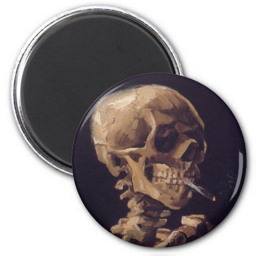 Vincent Van Gogh Skull with a Burning Cigarette Refrigerator Magnets