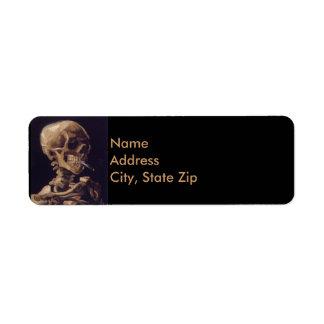 Vincent Van Gogh Skull with a Burning Cigarette Return Address Label