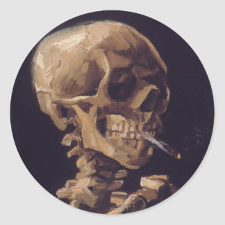 Vincent Van Gogh Skull with a Burning Cigarette Round Sticker