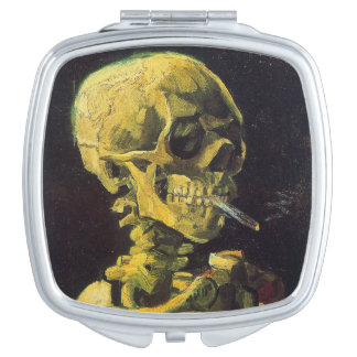 Vincent van Gogh Skull with Burning Cigarette Compact Mirrors