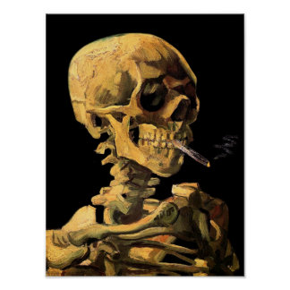 Vincent Van Gogh - Skull With Burning Cigarette Poster