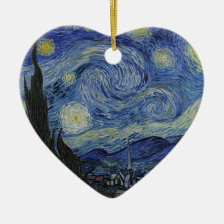 Vincent Van Gogh - Starry Night. Art Painting Ceramic Heart Decoration