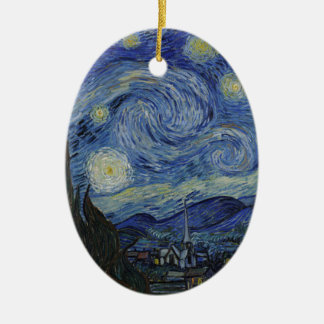 Vincent Van Gogh - Starry Night. Art Painting Ceramic Oval Decoration