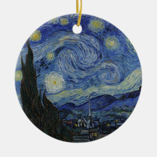 Vincent Van Gogh - Starry Night. Art Painting Round Ceramic Decoration