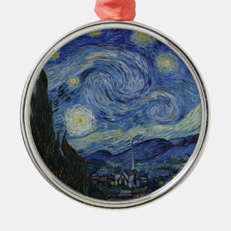 Vincent Van Gogh - Starry Night. Art Painting Silver-Colored Round Decoration