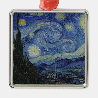 Vincent Van Gogh - Starry Night. Art Painting Silver-Colored Square Decoration