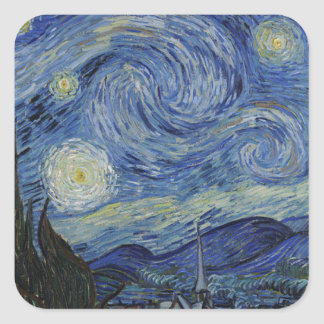 Vincent Van Gogh - Starry Night. Art Painting Square Sticker