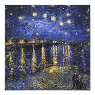 Vincent Van Gogh Starry Night Over The Rhone 13 Cm X 13 Cm Square Invitation Card