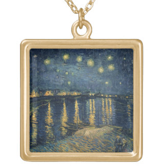 Vincent van Gogh | Starry Night Over the Rhone Gold Plated Necklace