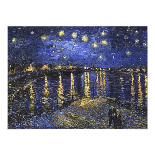 Vincent Van Gogh Starry Night Over The Rhone Custom Invitations