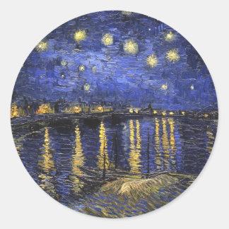 Vincent Van Gogh Starry Night Over The Rhone Round Sticker