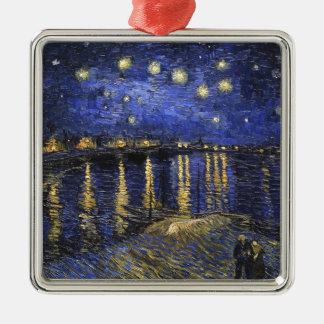 Vincent Van Gogh Starry Night Over The Rhone Silver-Colored Square Decoration