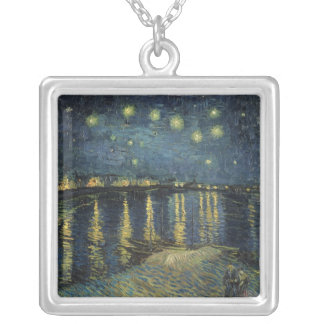 Vincent van Gogh | Starry Night Over the Rhone Silver Plated Necklace