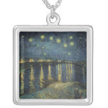 Vincent van Gogh | Starry Night Over the Rhone Square Pendant Necklace