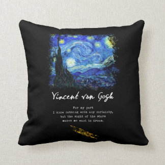 Vincent Van Gogh. Starry Night Painting Poem Art Cushion