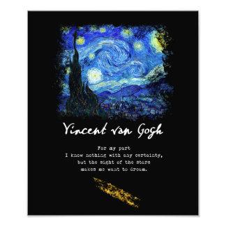 Vincent Van Gogh. Starry Night Painting Poem Art Photo Print