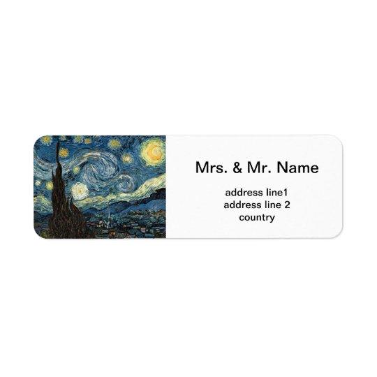 Vincent van Gogh, Starry Night Return Address Label