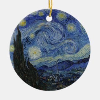 Vincent Van Gogh - Starry Night Round Ceramic Decoration