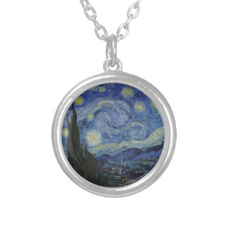 Vincent Van Gogh - Starry Night Silver Plated Necklace