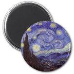 Vincent Van Gogh Starry Night Vintage Fine Art 6 Cm Round Magnet