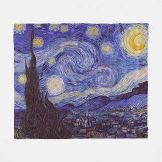 Vincent Van Gogh Starry Night Vintage Fine Art Fleece Blanket