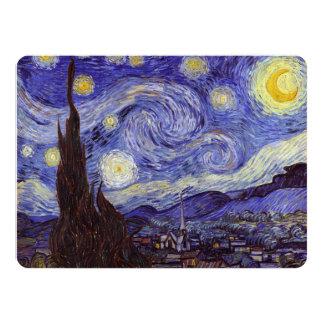 Vincent Van Gogh Starry Night Vintage Fine Art 14 Cm X 19 Cm Invitation Card