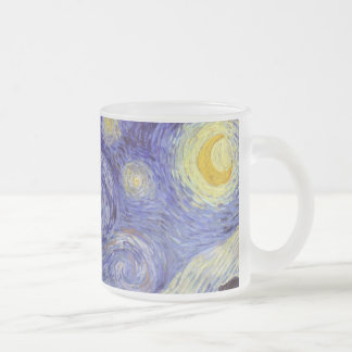 Vincent Van Gogh Starry Night Vintage Fine Art 10 Oz Frosted Glass Coffee Mug