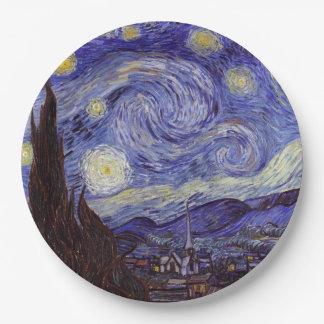 Vincent Van Gogh Starry Night Vintage Fine Art 9 Inch Paper Plate