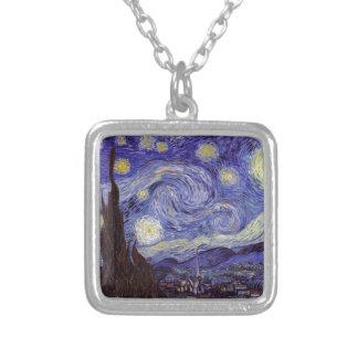 Vincent Van Gogh Starry Night Vintage Fine Art Silver Plated Necklace