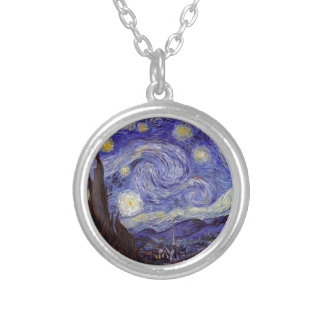 Vincent Van Gogh Starry Night Vintage Fine Art Silver Plated Necklace