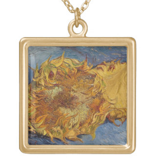 Vincent van Gogh   Sunflowers, 1887 Gold Plated Necklace