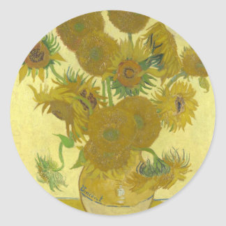 Vincent van Gogh Sunflowers 1888 Flowers Painting Round Sticker