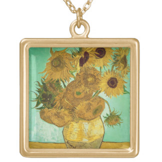 Vincent van Gogh   Sunflowers, 1888 Gold Plated Necklace