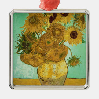 Vincent van Gogh | Sunflowers, 1888 Silver-Colored Square Decoration