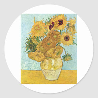 Vincent Van Gogh Sunflowers Classic Round Sticker
