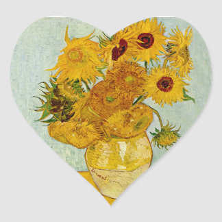Vincent Van Gogh Sunflowers Heart Sticker