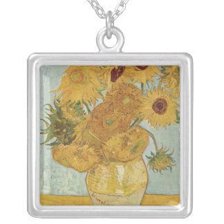 Vincent Van Gogh -  Sunflowers Square Pendant Necklace