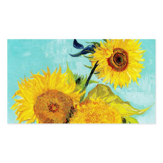 Vincent van Gogh Sunflowers Vase First Turquoise Business Card Templates