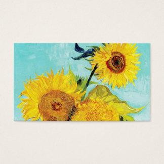 Vincent van Gogh Sunflowers Vase First Turquoise Business Card