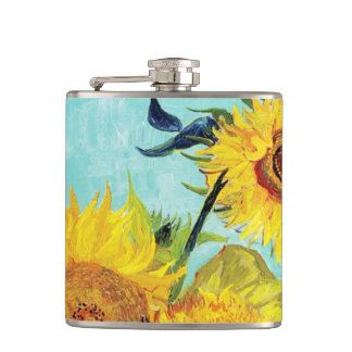 Vincent van Gogh Sunflowers Vase First Turquoise Hip Flask