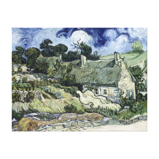 Vincent van Gogh Thatched Cottage at Cordeville Canvas Print