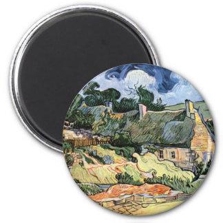 Vincent van Gogh - Thatched Cottages at Cordeville 6 Cm Round Magnet
