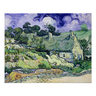 Vincent van Gogh | Thatched cottages at Cordeville Poster
